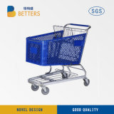 Supermarket Equipment 100L Canada Supermarket Plastic Shopping Cart, Plastic Shopping Trolley with Coin Lock Design