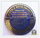 Police Coin Brass Die Struck Gold Plated Hard Enamel