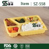 Disposable 5 Compartment Plastic Fast Food Storage Box with Cover