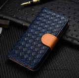 Woven Pattern PU Leather Case Flip Stand Case for iPhone