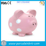 Ceramic Pink Dotted Piggy Coin Box for Children