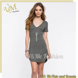 Women Gray Blank Side Slit Slim Fit Bodycon V-Neck T-Shirt Dress