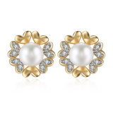 Zircon Women Earrings Imitation Pearl Zircon Earrings Champagne Gold Plated Flower Shape Earrings