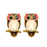 Cute Enamel Black Acrylic Eyes Owl Stud Earrings