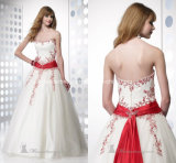 Red Appliques Ball Gowns Strapless White Wedding Dresses Z104