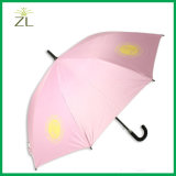 Rose Pink Cheapest Staight Auto Black Fiberglass Frame Walking Stick Umbrella for Custom