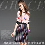 Europe Women′s Fashion Silk Short Sleeve Tops T-Shirt + Long Skirt