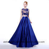 A-Line Scoop Neck Long Sleeveless with Pockets Appliques Prom Dress