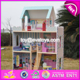 2017 New Design Lovely Pretend Play Wooden Girls Dollhouse W06A161