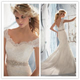 Hot Sale Wedding Gown Sheath/Column V-Neck Chapel Train Appliques Belt Shiny Rhinestones Beading Tulle Wedding Dress 2014