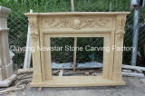 Indoor Natural Beige Marble Fireplace Surround Stone Fireplaces