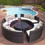 Patio Furniture 5-Piece Coffee Brown Rattan Round Sofa Set