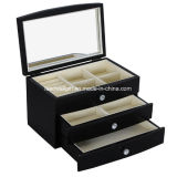 Jewelry Gift Box Wooden Case Organizer with Large Mirror Black