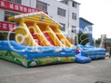 Inflatable Titanic Country Style Bounce Slide with Triple Lane