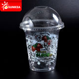 Disposable Custom Printed Clear Milkshake / Smoothie / Juice / Slush Plastic Cup