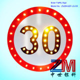 High Luminance Round Shape Solar Traffic Sign / LED Road Sign for Speed Limit