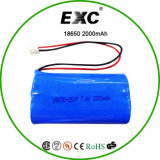 Flat Top Li-ion 2000mAh 7.2V 18650 Battery Pack