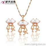 Fashion Elegant Gold-Plated CZ Crystal Imitation Jewelry Set Shaped with a Couple or Lovers --62402