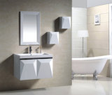 PVC White on Wall Modern Two Doors Bathroom Mirrored Cabinet (9002)