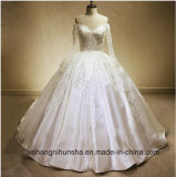 Long Sleeve Satin Lace Embroidery Floor-Length Custom Wedding Dress