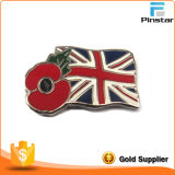 United Kindom Flag with Poppy Metal Lapel Pin