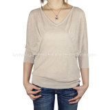 Women Fashion Knitted V Neck Long Sleeve Sweater Clothes (11SS-037)