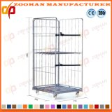 Galvanized Welded Stackable Steel Storage Cage Roll Trolley Container (Zhra39)