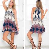 European and American Fashion Loose Printed Sleeveless Sexy Mini-Dresses