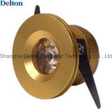 1W Round Golden Mini LED Cabinet Light (DT-CGD-018A)