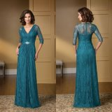 V-Neckline Chiffon Mother Bridesmaid Formal Gown Lace Blue Evening Dress B1445