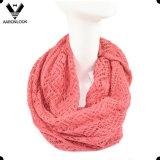 Women′s Wave Knit Pattern Jacquard Infinity Scarf