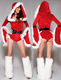 Wholesale Cheap Velvet Hooded Women Christmas Fancy Dress