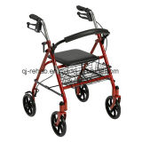 Medical Rehabilitation Walking Aids Four Wheel Rollator with Fold up Removable Back Support