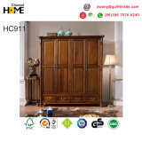 Americian Style Antique Design Wood Wardrobe for Bedroom Furniture (HC911)