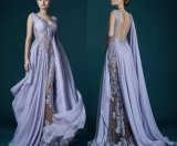Lilac Backless Prom Dresses Lace Chiffon Evening Dresses P6440