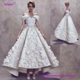 New Modern Style Pleats off Shoulder Backless Wedding Gown with 3D Flowers and Flare Ten Length Skirt