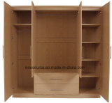 China Manufacture Customized Panel Wood Melamine Wardrobe (2, 3, 4door)