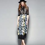 Bright Floral Printed Pleated Ladies Dress with Bowknot &Button &Apparel