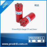 Thread Button Bits, R32-51mm, 9 Buttons, F/F