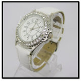 White Leather Band Alloy Case Watches