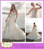 2014 New Designer Luxury White A Line Swetheart Lace Back Layered Lace Skirt Cathedral Train Bridal Dresses for a Prices