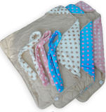 Printed Micro Mink Hooded Baby Blanket DOT Printing Quilting with Filling HR01BB036