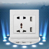 Two Pronged Power Socket with Dual USB Ports
