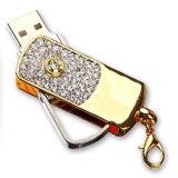Promotional Gift Shape Jewelry Diamond USB Drive Swivel Memory USB