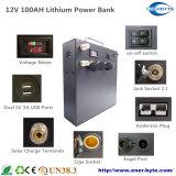 Portable Solar System 12V 100ah Lithium Battery Bank
