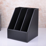 A4 Black PU Leather File Holder Box with 3 Dividers
