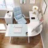 Home Office Furniture L Shape Tempered Glass Computer Desk