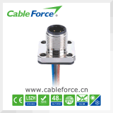 M12 Male Flange Type Panel Mount Connector for Industrial Automation with Wire