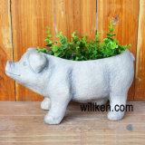 White Granite Unique Animal Flower Pot for Home Decoration