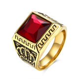 Euramerican Style Red Square Glass Crown Shape Titanium Steel Ring for Men